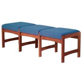 Three Person Bench - Mahogany/Blue Fabric