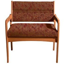 Bariatric Standard Leg Chair - Medium Oak/Rose Water Pattern Fabric