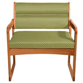 Bariatric Sled Base Chair - Medium Oak/Olive Arch Pattern Fabric