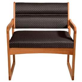 Bariatric Sled Base Chair - Medium Oak/Gray Arch Pattern Fabric