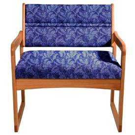 Bariatric Sled Base Chair - Medium Oak/Blue Leaf Pattern Fabric