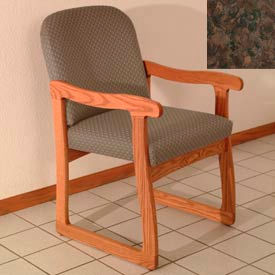 Single Sled Base Chair w/ Arms - Medium Oak/Earth Water Pattern Fabric