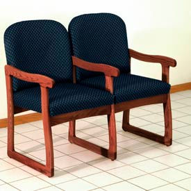 Double Sled Base Chair w/ Arms - Mahogany/Blue Arch Pattern Fabric