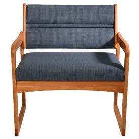 Bariatric Sled Base Chair - Medium Oak/Blue Fabric