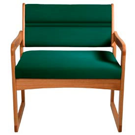 Bariatric Sled Base Chair - Medium Oak/Green Vinyl