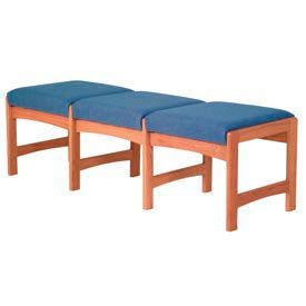 Three Person Bench - Medium Oak/Blue Fabric