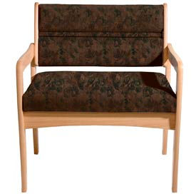 Bariatric Standard Leg Chair - Light Oak/Earth Water Pattern Fabric