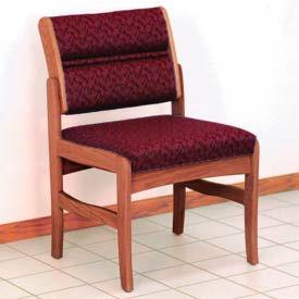 Guest Chair w/o Arms - Medium Oak/Burgundy Leaf Pattern Fabric
