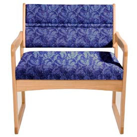 Bariatric Sled Base Chair - Light Oak/Blue Leaf Pattern Fabric