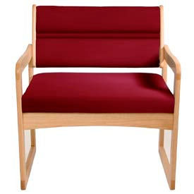 Bariatric Sled Base Chair - Light Oak/Burgundy Vinyl