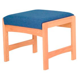 One Person Bench - Light Oak/Blue Fabric