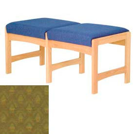 Two Person Bench - Light Oak/Olive Arch Pattern Fabric