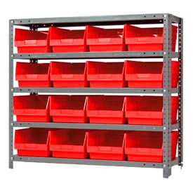 "Quantum 1239-207 Steel Shelving With 16 6""H Shelf Bins Red, 36x12x39-5 Shelves"