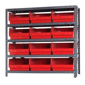 "Quantum 1239-209 Steel Shelving With 12 6""H Shelf Bins Red, 36x12x39-5 Shelves"