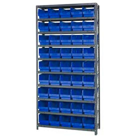 "Quantum 1875-204 Steel Shelving With 45 6""H Shelf Bins Blue, 36x18x75-10 Shelves"
