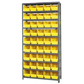 """Quantum 1875-204 Steel Shelving With 45 6""""H Shelf Bins Yellow, 36x18x75-10 Shelves"""