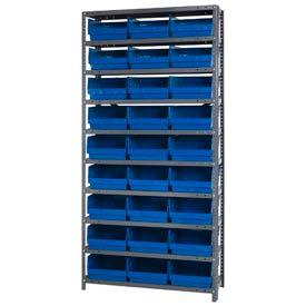"Quantum 1875-210 Steel Shelving With 27 6""H Shelf Bins Blue, 36x18x75-10 Shelves"