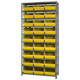 """Quantum 1875-210 Steel Shelving With 27 6""""H Shelf Bins Yellow, 36x18x75-10 Shelves"""