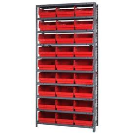 "Quantum 1875-210 Steel Shelving With 27 6""H Shelf Bins Red, 36x18x75-10 Shelves"