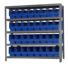 "Quantum 1839-203 Steel Shelving With 32 6""H Shelf Bins Blue, 36x18x39-5 Shelves"