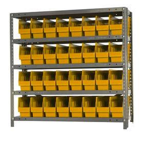 """Quantum 1839-203 Steel Shelving With 32 6""""H Shelf Bins Yellow, 36x18x39-5 Shelves"""