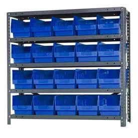 "Quantum 1839-204 Steel Shelving With 20 6""H Shelf Bins Blue, 36x18x39-5 Shelves"