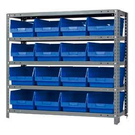 "Quantum 1839-208 Steel Shelving With 16 6""H Shelf Bins Blue, 36x18x39-5 Shelves"