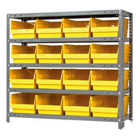 """Quantum 1839-208 Steel Shelving With 16 6""""H Shelf Bins Yellow, 36x18x39-5 Shelves"""