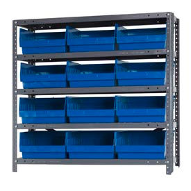 "Quantum 1839-210 Steel Shelving With 12 6""H Shelf Bins Blue, 36x18x39-5 Shelves"