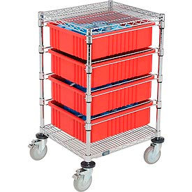 """21X24X45 Chrome Wire Cart With 4 6""""H Grid Containers Red"""
