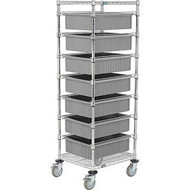 """21X24X69 Chrome Wire Cart With 7 6""""H Grid Containers Gray"""
