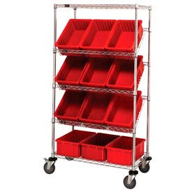 """Easy Access Slant Shelf Chrome Wire Cart With 12 3-1/2""""H Grid Containers Red, 36""""L x 18""""W x 63""""H"""