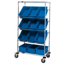 """Easy Access Slant Shelf Chrome Wire Cart With 12 8""""H Grid Containers Blue, 36""""L x 18""""W x 63""""H"""