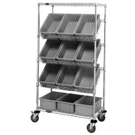 """Easy Access Slant Shelf Chrome Wire Cart With 12 8""""H Grid Containers Gray, 36""""L x 18""""W x 63""""H"""