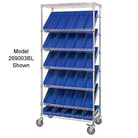 """Easy Access Slant Shelf Chrome Wire Cart With 48 4""""H Shelf Bins Blue, 36""""L x 18""""W x 74""""H"""