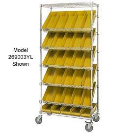 """Easy Access Slant Shelf Chrome Wire Cart With 48 4""""H Shelf Bins Yellow, 36""""L x 18""""W x 74""""H"""