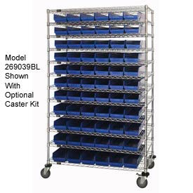 "Chrome Wire Shelving with 91 4""H Plastic Shelf Bins Blue, 48x14x74"