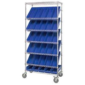 """Easy Access Slant Shelf Chrome Wire Cart With 30 4""""H Shelf Bins Blue, 36""""L x 18""""W x 74""""H"""