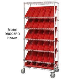 """Easy Access Slant Shelf Chrome Wire Cart With 24 4""""H Shelf Bins Red, 36""""L x 18""""W x 74""""H"""