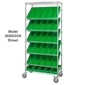 """Easy Access Slant Shelf Chrome Wire Cart With 24 4""""H Shelf Bins Green, 36""""L x 18""""W x 74""""H"""