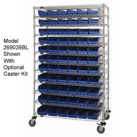 "Chrome Wire Shelving with 110 4""H Plastic Shelf Bins Blue, 48x18x74"