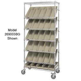 """Easy Access Slant Shelf Chrome Wire Cart With 18 4""""H Shelf Bins Ivory, 36""""L x 18""""W x 74""""H"""