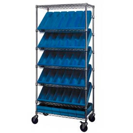 "Quantum MWRS-7-602 Chrome Wire Truck With 36 4-5/8""H Plastic Drawers Blue, 36""L x 18""W x 74""H"