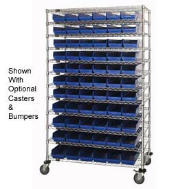 "Chrome Wire Shelving with 66 4""H Plastic Shelf Bins Blue, 48x24x74"
