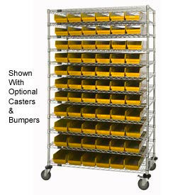 "Chrome Wire Shelving with 66 4""H Plastic Shelf Bins Yellow, 48x24x74"