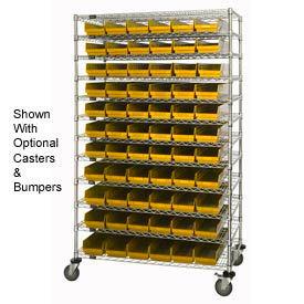 "Chrome Wire Shelving with 66 4""H Plastic Shelf Bins Yellow, 48x24x74"