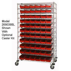 "Chrome Wire Shelving with 143 4""H Plastic Shelf Bins Red, 48x14x74"
