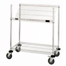 """Easy Access Slant Shelf Chrome Wire Cart 48""""L x 24""""W x 40""""H"""