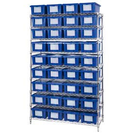 "Chrome Wire Shelving With 36 6""H Nest & Stack Shipping Totes Blue, 48x18x74"