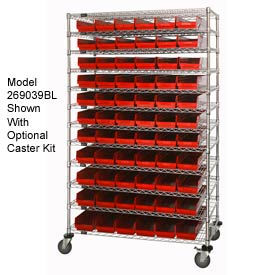 "Chrome Wire Shelving with 118 4""H Plastic Shelf Bins Red, 60x24x74"